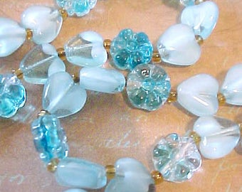 Lovely Necklace of Aqua Glass Hearts and Flower Beads