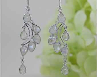 Fancy Natural Glowing Moonstone Chandelier Earrings in Sterling Silver, Birthday Gift, Anniversary Gift, Thank You Gift