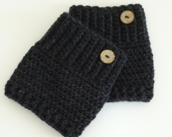 Crochet Boot Cuffs Button Accent Crochet Boot Topper Leg Warmer in Charcoal - Ready to Ship  - Direct Checkout