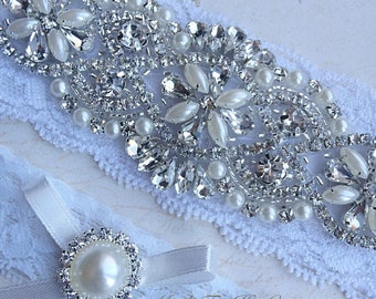 White Wedding Garter Set, Bridal Garter Set, Stretch Lace Garter, Crystal Pearl Garter Set, Vintage Garter, Wedding Garter Belt, Garter Set