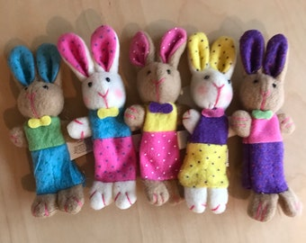 5 New Bunny Rabbit Finger Puppets Easter Basket Gift