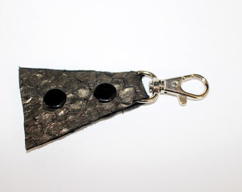 Fish skin leather triangle snap keychain, pinkfish, inspired by Iceland
