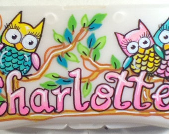 Baby Wipes Travel Case Personalized Baby Owls Pink Yellow Teal Handpainted