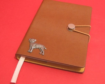 Border Terrier Hand Cast Pewter Motif on A6 Tan Note Book Father Mother Border Terrier Gift
