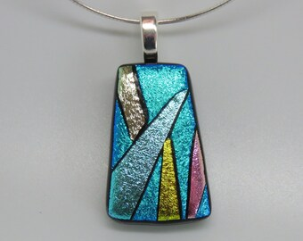 Dichroic fused art glass contemporary pendant