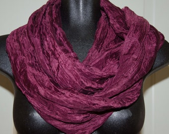 Purple Silk Infinity Scarf Circumference  62 inches  Fashion Accessory (Loop Scarf) 100% Silk So Light and Soft