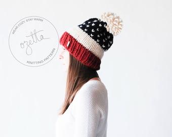 Knitting Pattern / USA Fair Isle Knit Hat With Pom Pom / The USA Alpine Hat / PDF