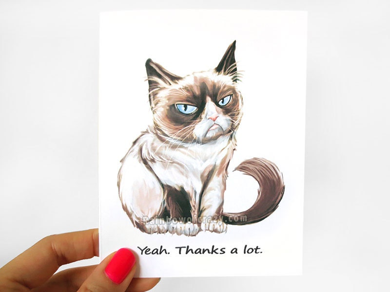 Funny Cat Birthday Meme : Grumpy cat card thank you card funny greeting card