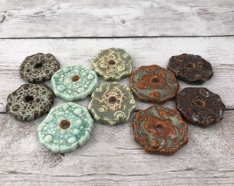 Ceramic Beads - One Pair - Nest Fester and Bumpy Designs - Earring Sized Pairs - Ready to Ship - Marsha Neal Studio - Handmade Beads