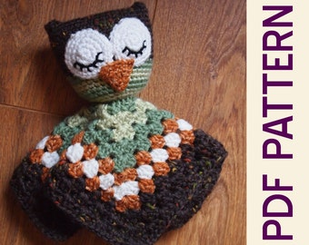 Amigurumi Sleepy Owl Security Blanket Lovey PDF Crochet Pattern