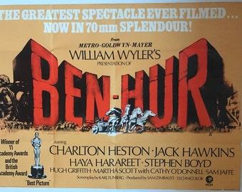 1969 Original Ben Hur Quad Film Poster starring Charlton Heston and Jack Hawkins