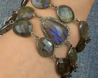 Multistrand Labradorite Bracelet - Multistrand Bracelet - Pave Diamond Bracelet - Pave Diamonds - Gemstone Jewelry - Bezel Chain - Cuff