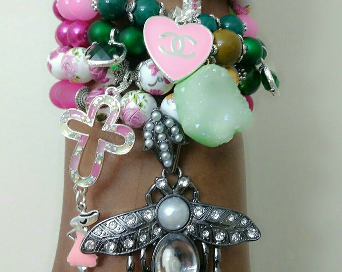 Designer Inspired Ladies Flower Beaded Charm Bracelet Stack, green & pink, anniversary gifts, mother's day gifts, birthday gifts