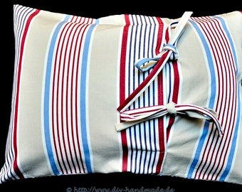 """Striped pillowcase blue red beige , modern pillow case with tie bands, 23.6x15.7 """", hard-wearing cover, cotton"""