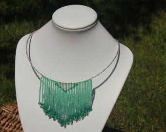 fringe necklace tribal necklace fringe choker fringe jewelry boho chic necklace summer outdoors her birthday fringe statement summer party