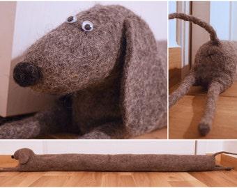 Felted monochrome dog draught excluder / draft dodger / window / door draft stopper - sausage dog, dachshund