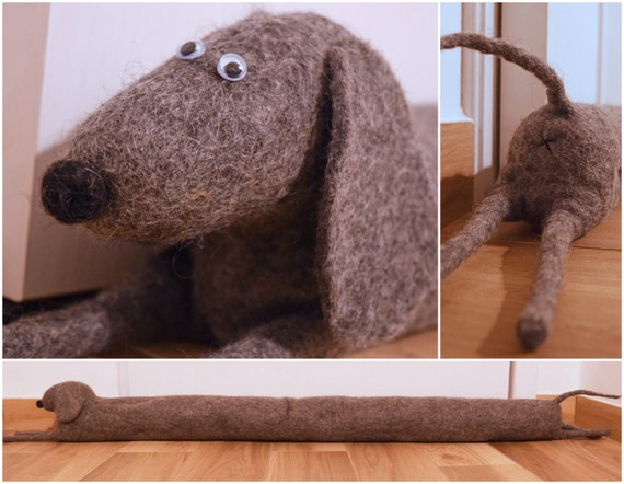 Felted Monochrome Dog Draught Excluder Draft Dodger Window