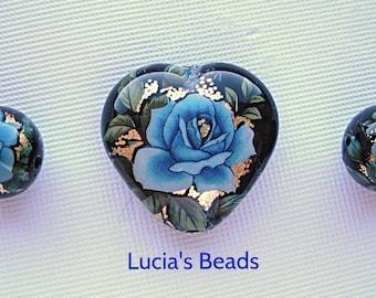 NEW LOVELY Blue Rose on Black Heart  Japanese Tensha Bead Set