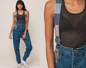 Patchwork Overalls Pants 90s Denim Suspender Pants GRUNGE Dungarees Plaid Patch Coveralls Long Jean 80s Vintage Extra Small xs