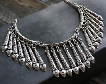 Indira Fringe Collar Statement Necklace Bohemian Jewelry