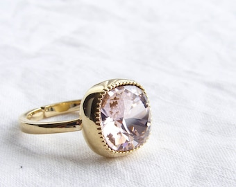Swarovski Ring. Vintage Rose. Cushion Cut. Solitaire Gold Ring. Adjustable Ring. Swarovski Crystal Ring. Gift fo Her. Jewelry under 25