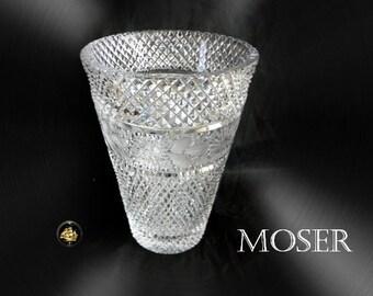 Moser vintage HEAVY art glass vase etch band decorations - marked