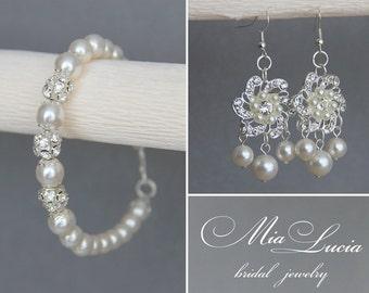 Wedding Jewelry Set, Swarovski Pearl Bridal Jewelry Set, White Pearl Bridal Earrings Bracelet Set,  Wedding set art e28-b01