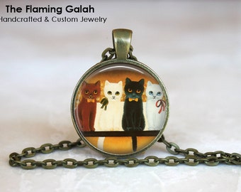 CATS Pendant •  Group of Cats Necklace •  Kitten Pendant •  Cat Lover •  Gift Under 20 • Made in Australia (P0108)