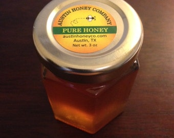 150 of our 3 oz. Glass Hex jars of raw wildflower honey