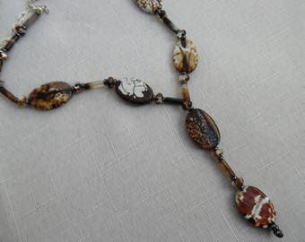 Agate Necklace with Double Drop