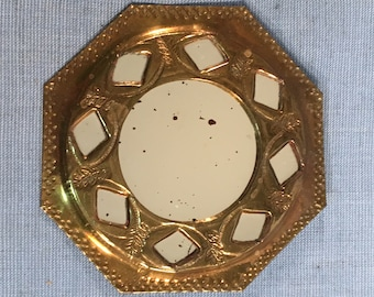 """Small Mirror 3 7/8"""" Octagonal Gothic Goth Upscaled Vintage with Brass Frame with Diamond and Leaf Design"""