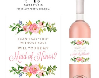 Will You Be My Bridesmaid Wine Label, Bridesmaid Proposal Wine Label, Bridesmaid Gift, Maid of Honor Wine Label - (FPS0001)