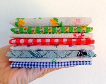 Vintage Seersucker Fabric Bundle / Lot of 8 / Gingham / Quilting Fabric