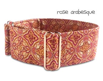 "dog collar *arabesque* rose gold, oriental, ornaments, red, purple, martingale, red gold hardware, custom, martingale, buckle collar; 1""- 2"""