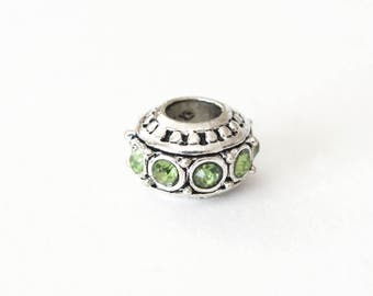 Silver Spacer Bead, Peridot Green Rhinestone Beads, Large Hole - 2 pieces (137S)