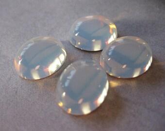 4 PC Vintage West German Glass Opal Cabochon - 12mm x 10mm