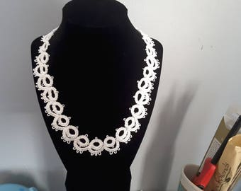 20 inch white cotton tatted necklace