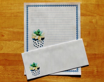 Polka Dot Succulent Plant - Lined Stationery Set With Envelopes - Snail Mail Pen Pal Letters - Stationary Writing Paper