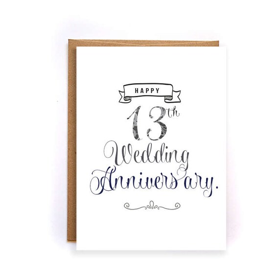 13th Wedding Anniversary Gift Ideas For Him: Items Similar To 13th Anniversary Card, Lace Anniversary
