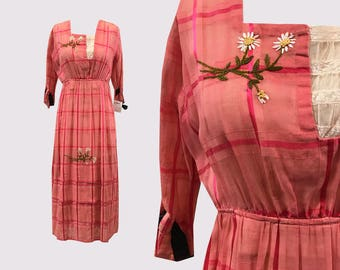 SALE Titanic Edwardian Hot Pink Embroidered Day Dress