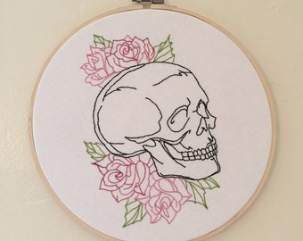Skull and Roses Embroidery hoop art