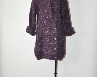 80s purple sweater coat / 1980s double breasted cardigan / vintage ribbed knit cardigan