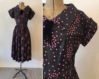 Calice 50s dress | Vintage black taffeta dress | 1950s pink floral flocked party dress