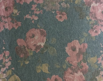 Denim Blue Plum Rose - French Terry