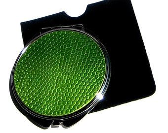 Metallic Green Lizard Leather Compact Mirror - by UNEARTHED