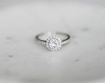 Diamond Halo Engagement Ring Round Moissanite Diamond Halo Ring, Moissanite Engagement Ring, Round Halo Moissanite