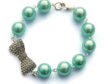 Rockabilly Aqua Pearl and Rhinestone Bow Bracelet, Womens vintage inspired jewelry