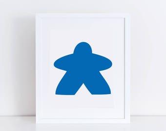 Printable Meeple Art / Blue Meeple Wall Print / Printable Board Game Art / Board Game Wall Print / Nerdy Wall Print / Game Room Decor