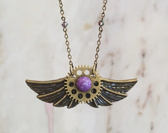 LUCIFER necklace, evil wings, purple gem, steampunk jewelry, vintage necklace, fantasy wings, dark evil, gothic, demon wings, heavy metal