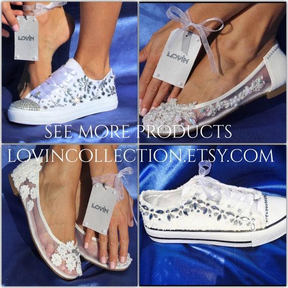 239f056a25ba58 ... For White Converse Chucks Optical Swarovski Lace Converse Sneakers  Wedding High Bridal Wedding Shoes Converse Top